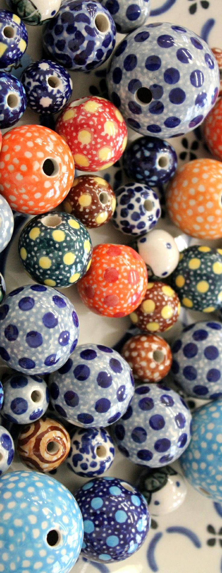 Beads by Polish pottery