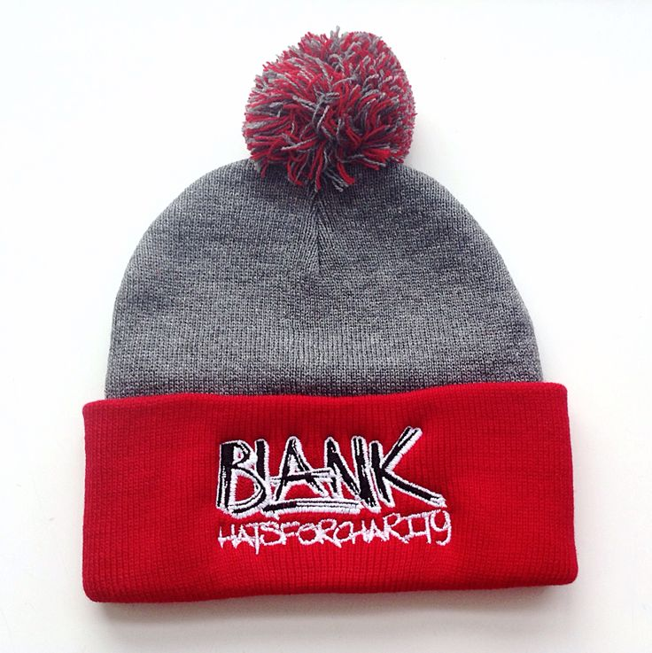 New BLANKHATSFORCHARITY red and charcoal Pom Pom toque!