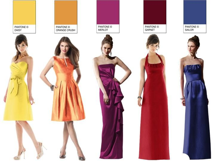 Classic Cuts for Bridesmaids...: Multi Colors, Bridesmaid Dresses, Inspiration Boards, Dress Wedding, Color Bridesmaid, Real Wedding, Wedding Dress, Rainbow Colors, Pantone Color