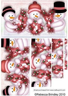These three jolly snowmen are great for christmas, holding their wreaths to spell the word JOY  This is one of many sheets/colourways in this design, others include Decoupage, Pyramid, Insert, Backing Paper, in Blue, Green, Red and Olive. If you would like any of these other options please click on my name (above) and type 'Christmas Joy' in the search box.