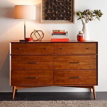 """Mid-Century 6-Drawer Dresser - Acorn #westelm 56"""" wide -- too big for nursery?"""
