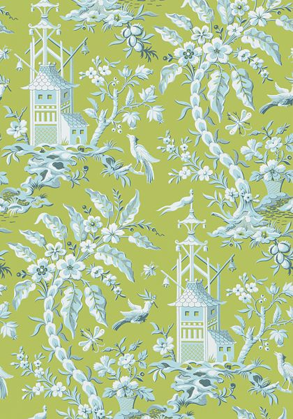 PAGODA GARDEN, Green, T14208, Collection Imperial Garden from Thibaut : Living With Color Designs
