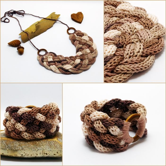 beige - barna színátmenetes nyaklánc és karkötő / necklace and bracelet with gradient yarn #knitted #necklace #bracelet #jewelry