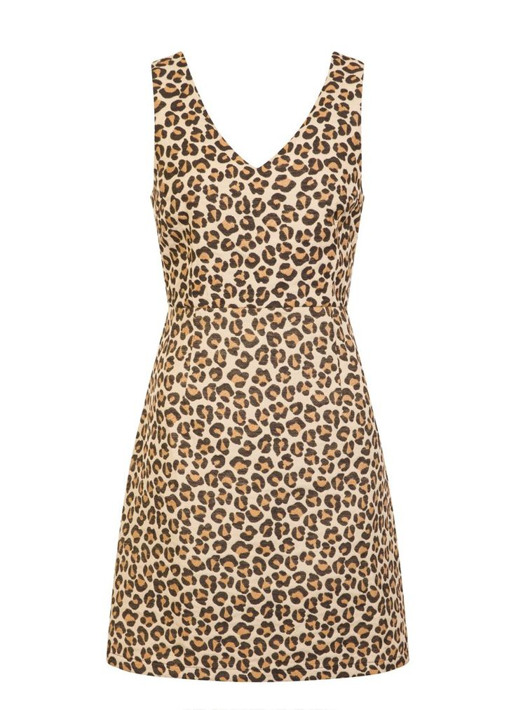 The Alice Leopard Print Dress is a classic '60s-inspired pinafore dress in a vintage-inspired animal print, perfect for winter layering.
