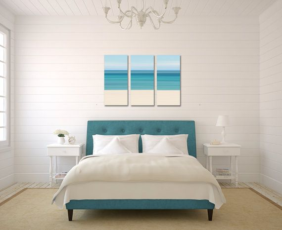 Items Similar To Canvas Beach Decor Triptych Large Wall Art Teal Blue Aqua Turquoise Beige Living Room Bedroom Nautical Stripes Abstract Photography