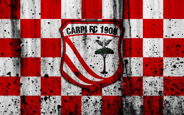Download wallpapers Carpi, 4k, grunge, Serie B, football, Italy, soccer, FC Carpi, stone texture, football club, Carpi FC
