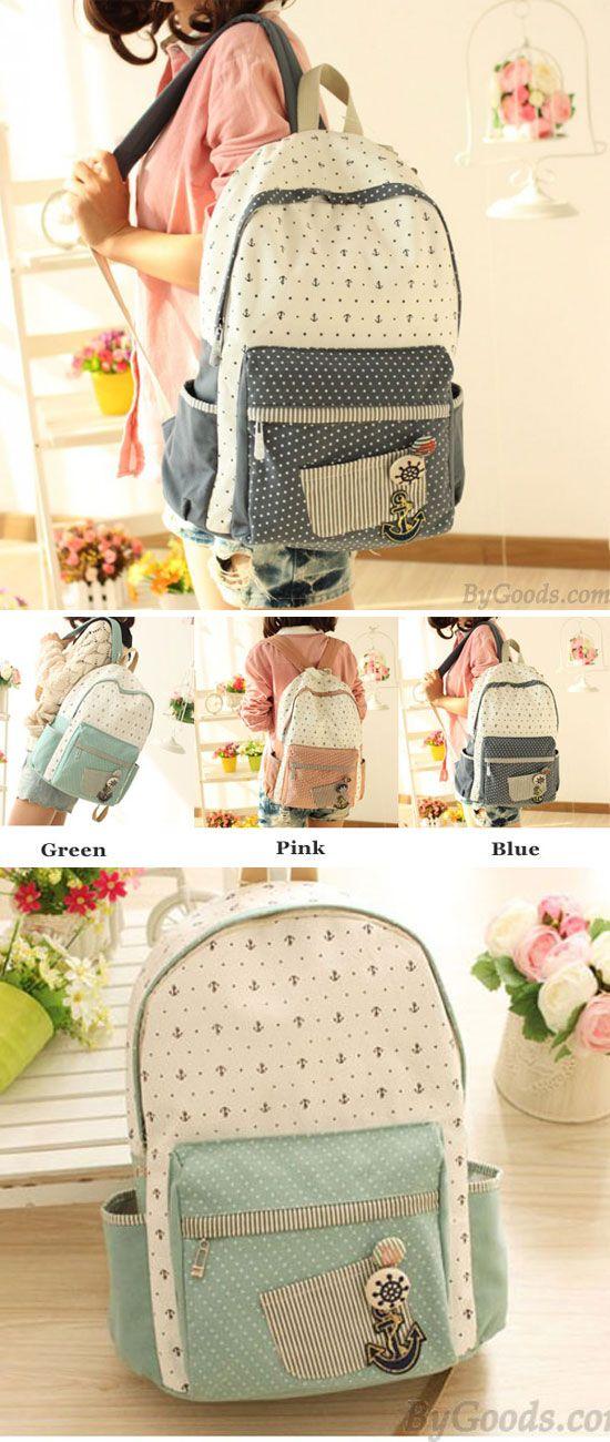 A very sweet anchor backpack ! Fresh Polka Dot Anchor School Canvas Backpacks #backpack #dot #anchor #school #bag
