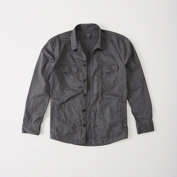 Abercrombie & Fitch Military Shirt Jacket ($31) ❤ liked on Polyvore featuring men's fashion, men's clothing, men's outerwear, men's jackets, dark grey, mens military jacket, mens military style jacket, mens lightweight jacket and mens light weight jackets