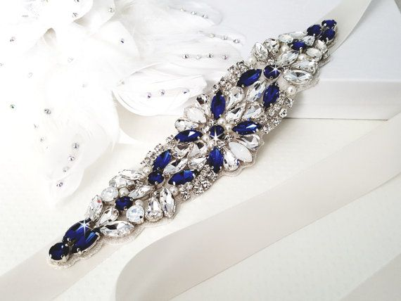 SALE Something Blue Bridal Sash Sapphire Blue by WestaireBridal