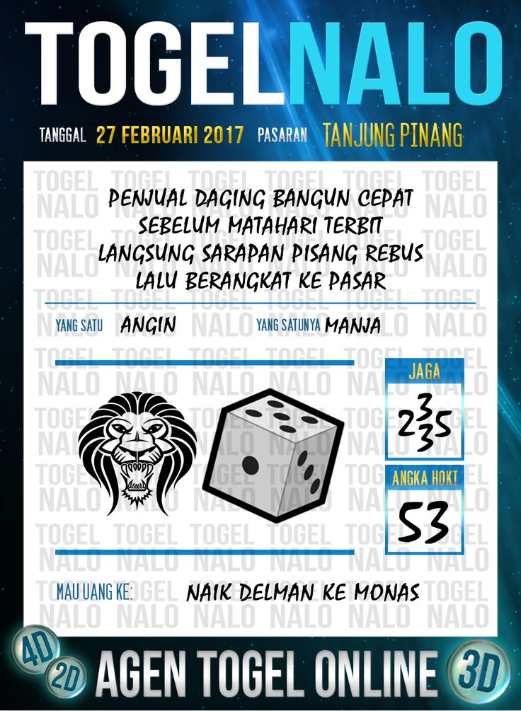 Lotre Taysen 4D Togel Wap Online Live Draw 4D TogelNalo Tanjung Pinang 27 Februari 2017