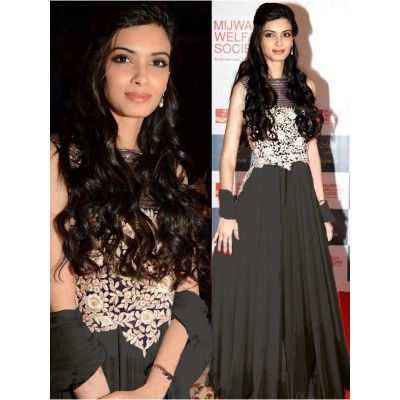 Pull together a chic look by wearing this Black coloured Anarkali Dress from the house of Indiantrend. with Black Color Satin Bottom size is 2.25 MTR, Black Color Chiffon Dupatta size is 2.25 MTR and satin Inner.It contained the work of Embroidery.The Salwar Suits Which can be customzied up to bust size 44