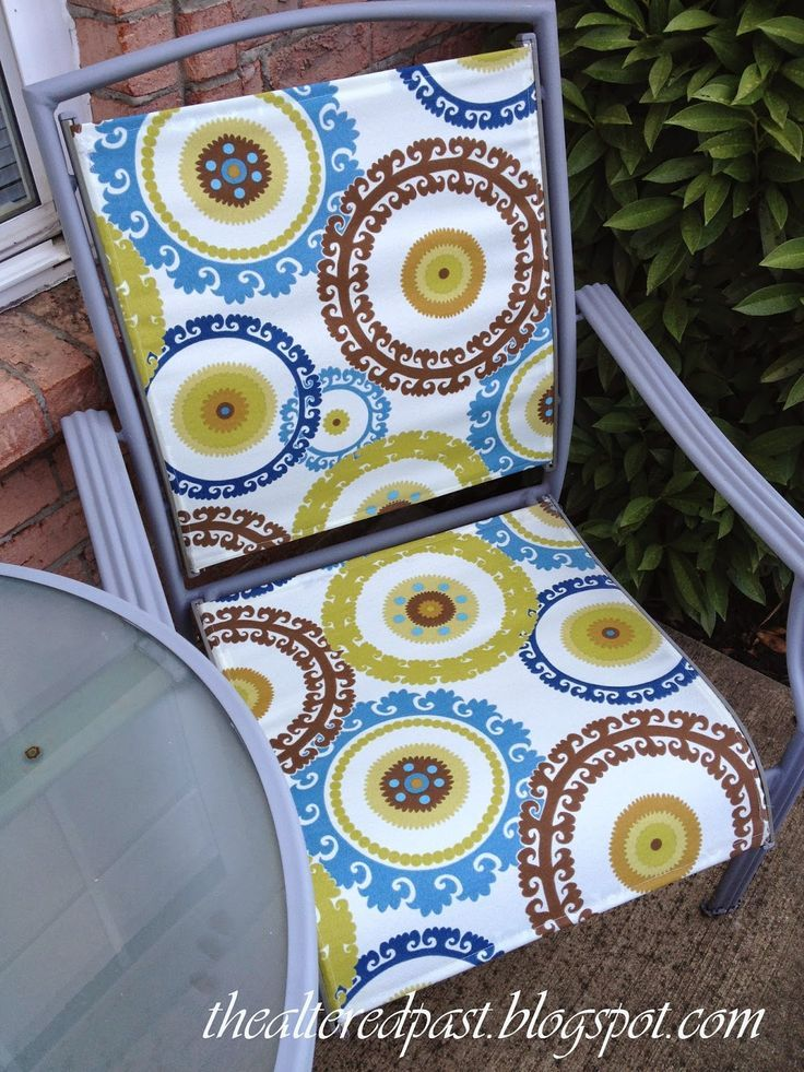 DIY and upcycle that patio furniture. Paint and replace fabric slings. Here's how....