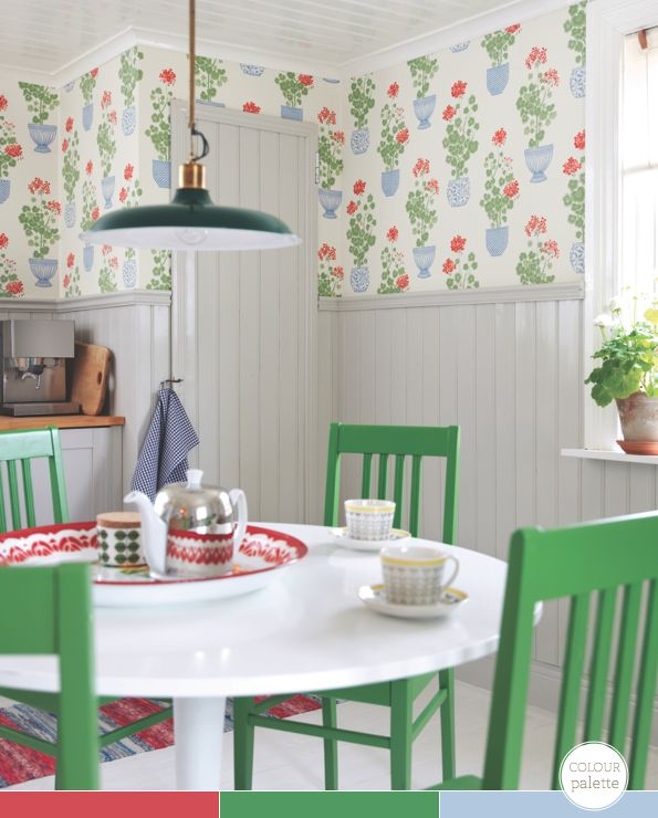 Sandberg Wallpaper - Elin Just painted my walls this color gray and plan to paint table white with green chairs. Cool.