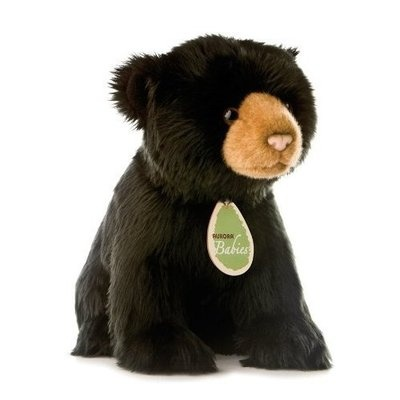 realistic plush black bear stuffed animal baby cute plushie gift soft 10 new plushies and. Black Bedroom Furniture Sets. Home Design Ideas