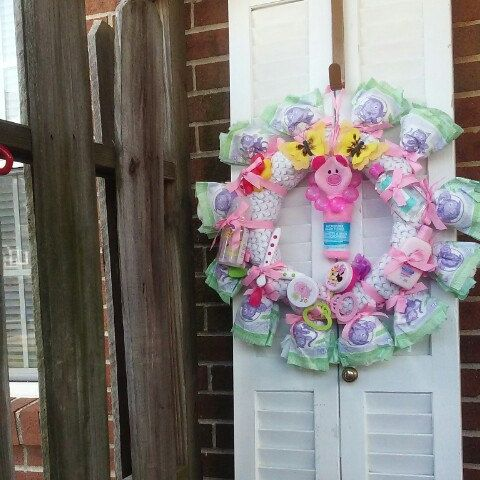 "Baby Girl Diaper Wreath - ""On Sale Now"""