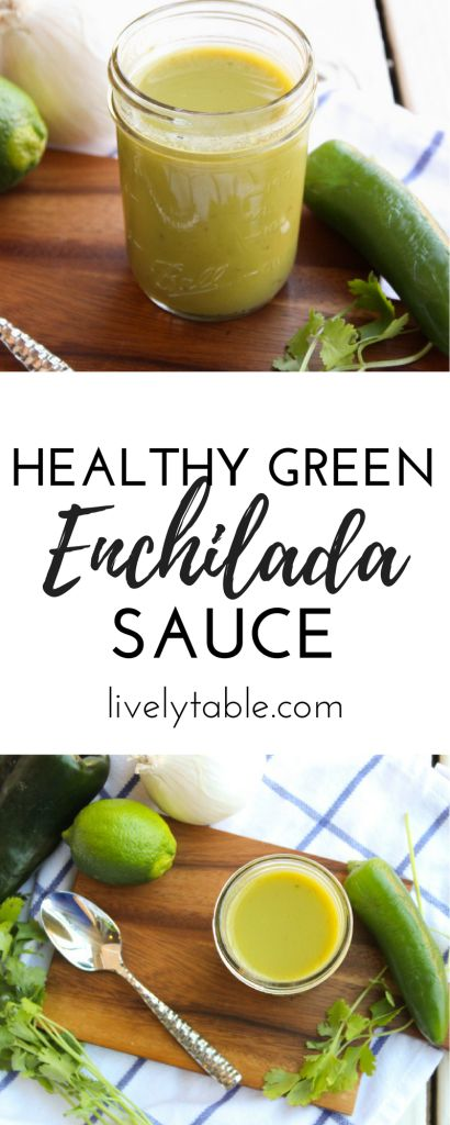 Enchiladas are so much more delicious and healthy with this homemade green enchilada sauce! via livelytable.com