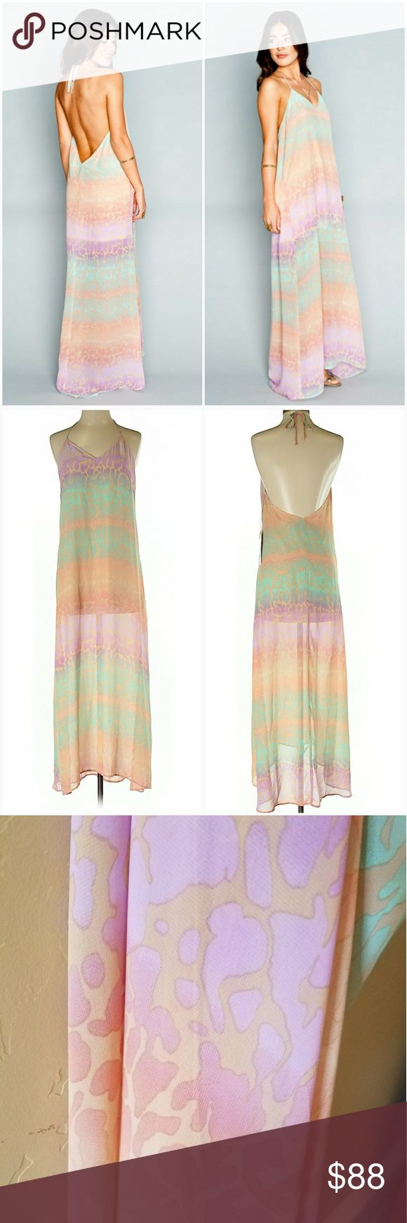 """NWT Erlyn Maxi Dress SayUCheetah Halter Animal Erlyn can't enter a room w/o tuning heads. She has mastered ultimate elegance while having the biggest smile. V'ed neckline in the front and a deep V to open the back up. You will feel absolutely divine in the Erlyn Maxi Dress. Peach, lavender, and mint green spots make her the cutest cat in all of Mumu Land.  * New with tags.  * MADE IN THE GORGE USA * 100% Poly Chiffon  * Semi-Sheer  * Ties at neck  * Basically Wrinkle-proof * 48.25"""" length…"""