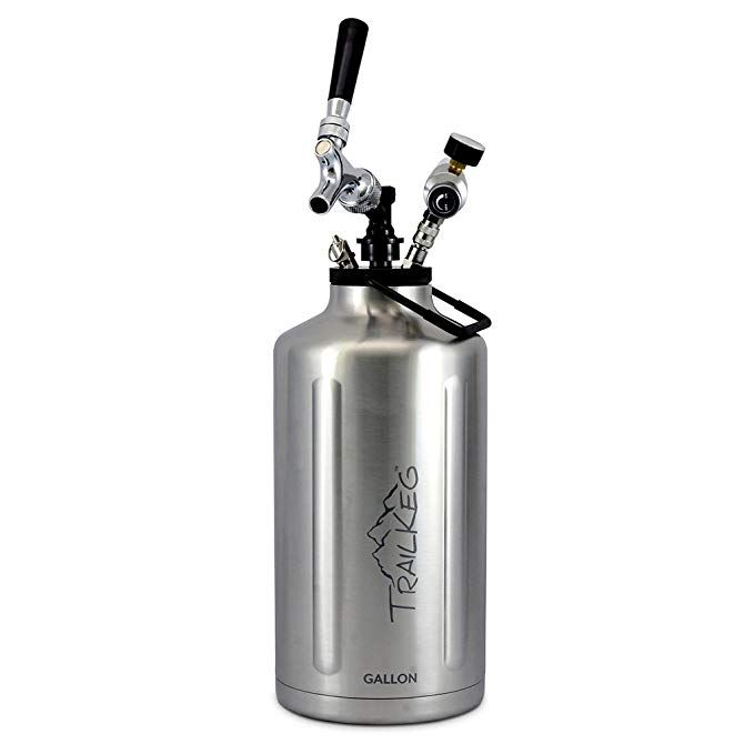 Amazon Com Trailkeg Gallon Stainless Steel Growler For Beer Vacuum Insulated Double Wall Design Chrom Beer Growler Stainless Steel Growler Glass Growler