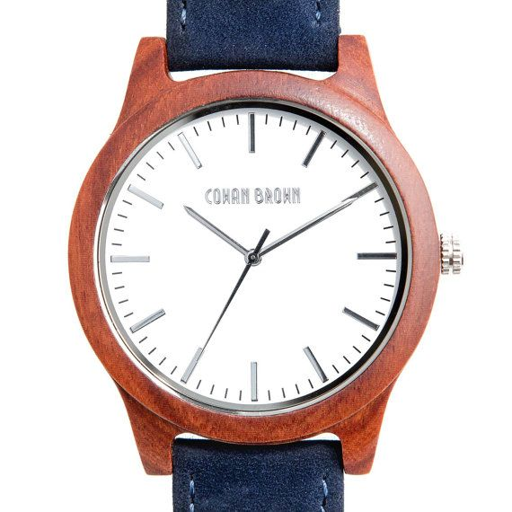 Hudson red sandal wood and blue suede watch by COWANBROWN on Etsy