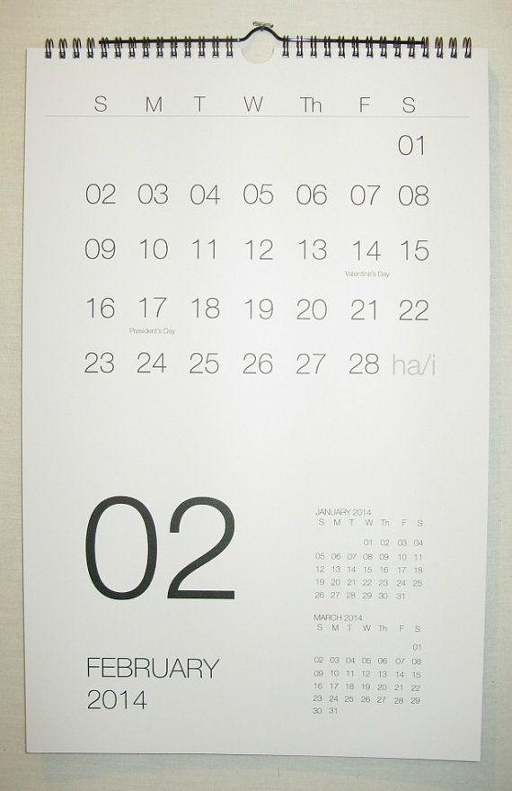 Calendario de pared calendario 2014 Hayes por HayesStudio en Etsy, $24.00