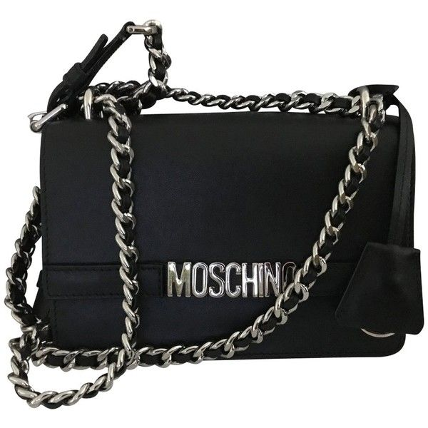 Pre-owned Moschino Logo Chain Crossbody Bag (€410) ❤ liked on Polyvore featuring bags, handbags, shoulder bags, black, crossbody shoulder bag, crossbody purse, leather cross body handbags, shoulder strap bags and leather handbags