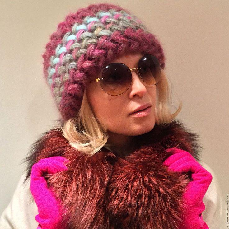 Купить Шапка Клематис, вязаная из мохера, шапка вязанная, теплая, женская - шапка, шапка вязаная