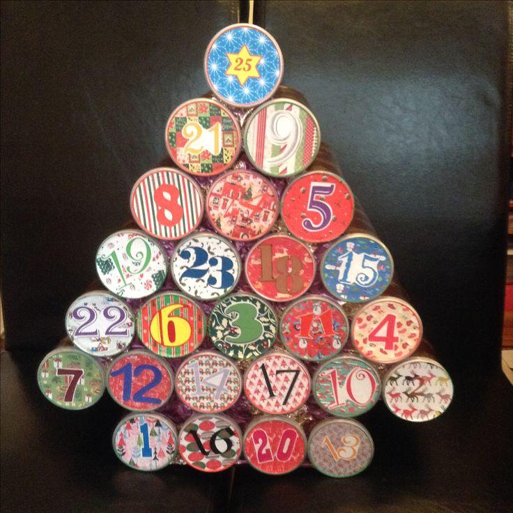 Pringles tubes made into advent calendar time