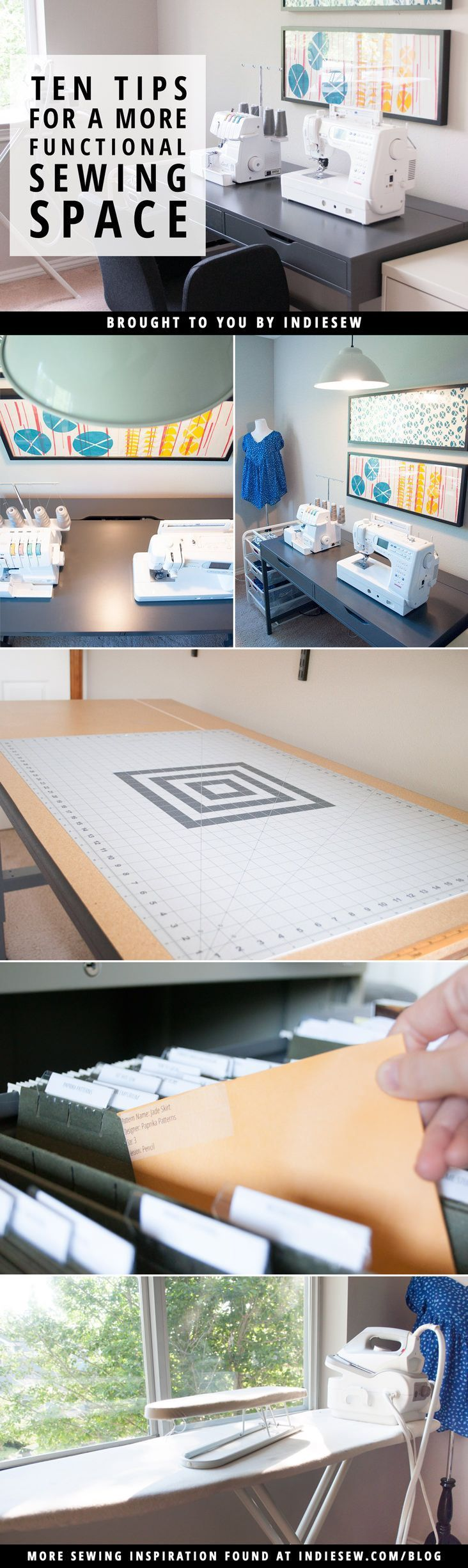 Spruce up your creative space with these ten tips for a more functional sewing room!   Indiesew.com