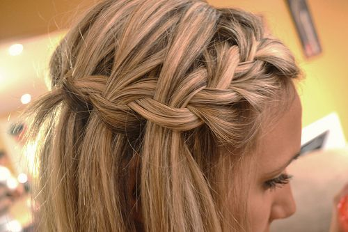 french into waterfall braid.