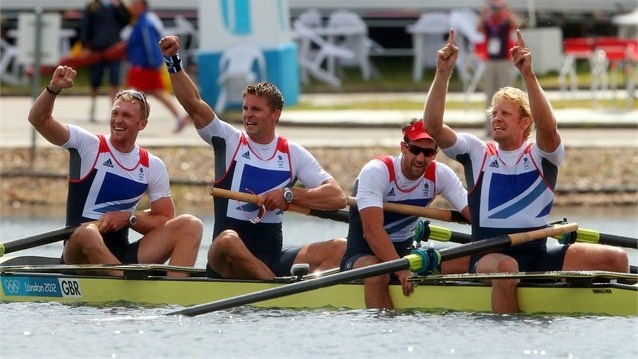 Alex Gregory, Pete Reed, Tom James and Andrew Triggs Hodge of Great Britain celebrate Gold