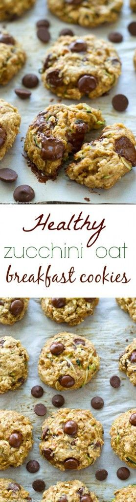 Jam-packed with all kinds of heart-healthy goodness, sneaky zucchini, and tons of gooey chocolate, these soft 'n' chewy breakfast cookies are the best way to start the day! @WholeHeavenly