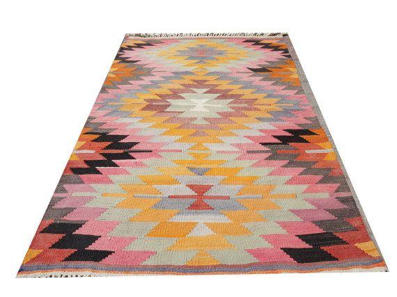 Great Color Vintage Small Kilim Rug,Hand Made Turkish Wool Area Rug,Kilim,Carpet…