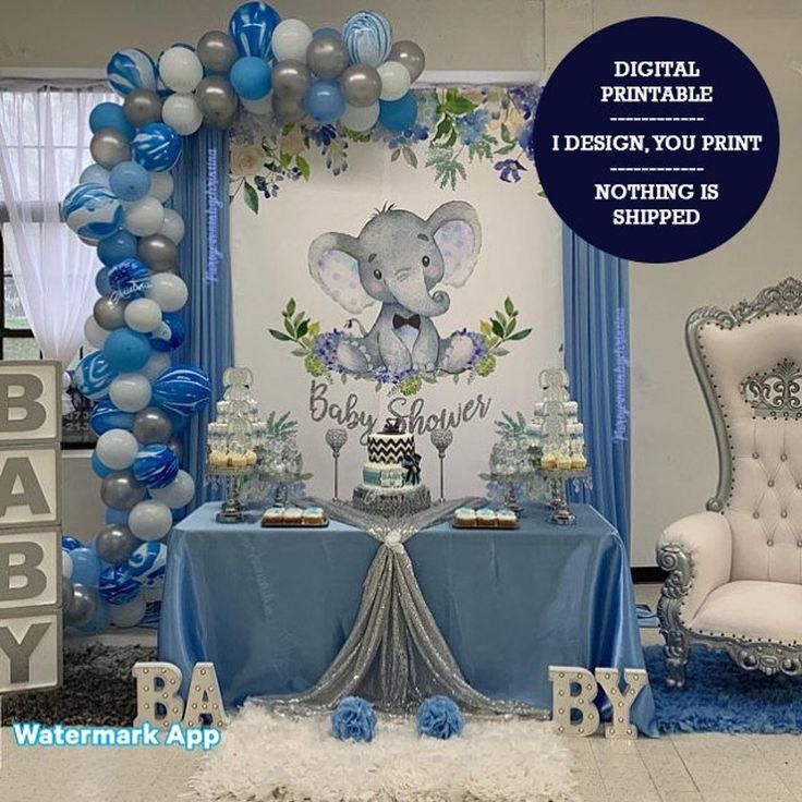 Boy Elephant 6x8 ft CANDY TABLE BACKDROP, Blue Elephant