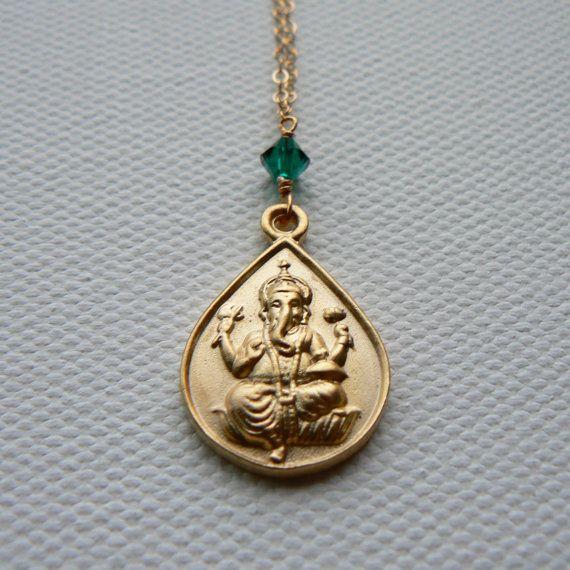 Gold Ganesha w/ Emerald Necklace, Yoga & Spirituality Jewelry, Indira Boheme