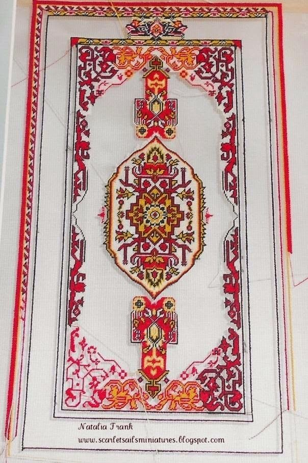 """Dollhouse needlepoint area rug pattern """"KONYA"""". It is done in 3 variations: as a square rug, rectangle rug and narrow runner that easily ca..."""