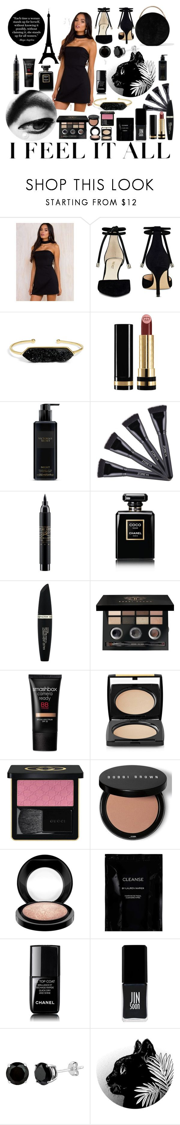 """lil black dress"" by manderzlmao ❤ liked on Polyvore featuring Nine West, BaubleBar, Gucci, Victoria's Secret, MAC Cosmetics, Chanel, Max Factor, Bobbi Brown Cosmetics, Smashbox and Lancôme"