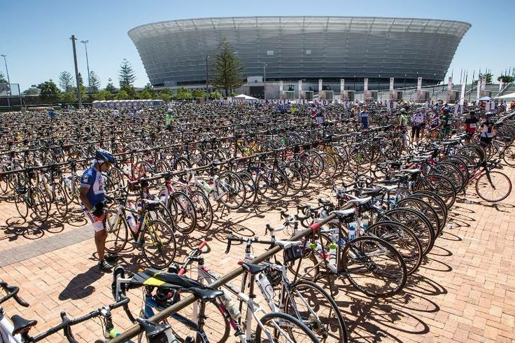 Cape Argus cycle race, with Cape Town stadium in the back ground