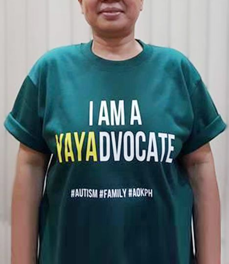 """These cotton crewneck shirts bear celebrate the unity of families who live and love with autism.  """"I am a YAYAdvocate"""" Caregivers of persons with autism give autism parents the opportunity to work and rest. They are with their charges on good and bad days; and know them best. They are a part of the #family!."""