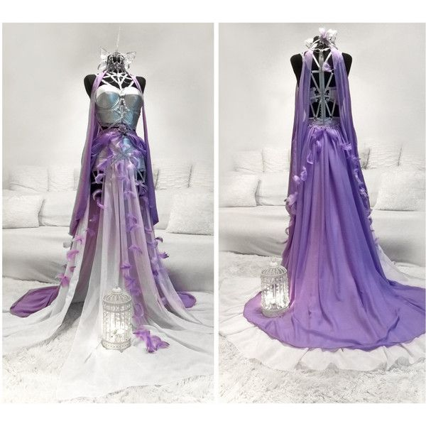 Unicorn Gown ($10) ❤ liked on Polyvore featuring dresses, gowns, beaded evening dress, evening gowns, white evening gowns, white ball gowns and evening cocktail dresses