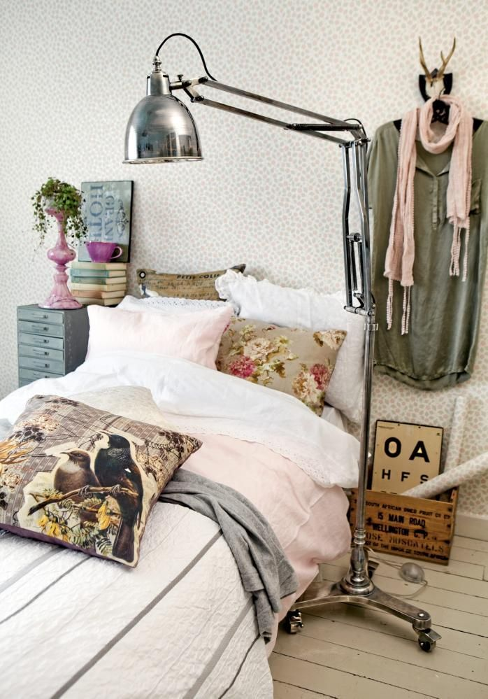 ♥ Like the combination of pillows and bedding, with galvanized metal bedside table