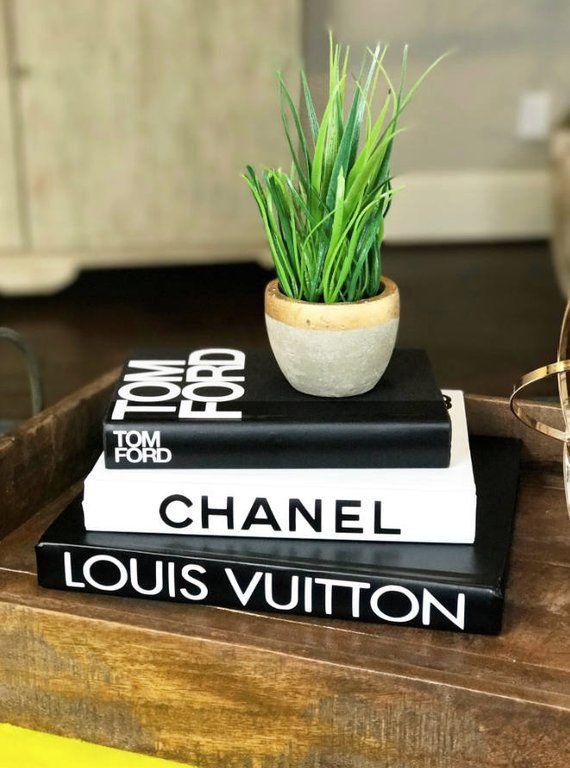 3 Large Books Black White Designer Book Set Chanel Louis