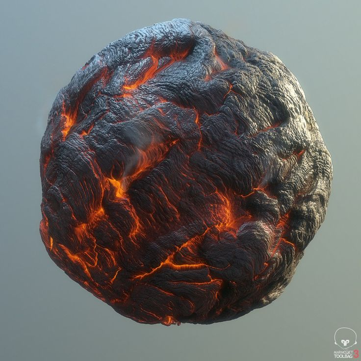 Material study of flowing lava. 100% Substance designer, rendered in Marmoset.