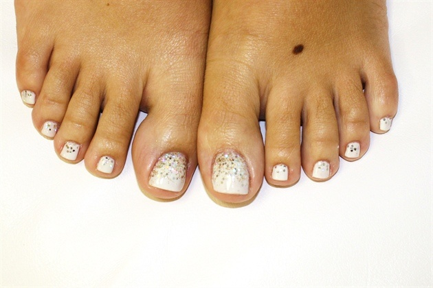 Wedding Toes - White Gel Polish with some BLING