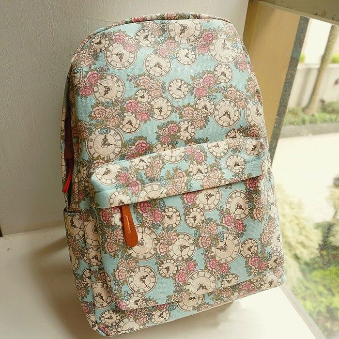 College Style Fresh Floral Clock Printed Backpack|Fashion Backpacks - Fashion Bags- ByGoods.com