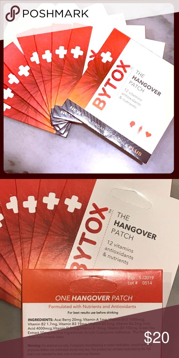 5 BYTOX Hangover Patches - All Organic, Latex Free The BYTOX Hangover Patch is the perfect Hangover prevention! A self adhesive, latex free patch and all organic formula with 12 vitamins antioxidants and nutrients. Just put it on before drinking and leave it until the next morning. Great to use for yourself or to give as gifts or include in bachelorette or party favors! *Set of five patches. BYTOX Makeup
