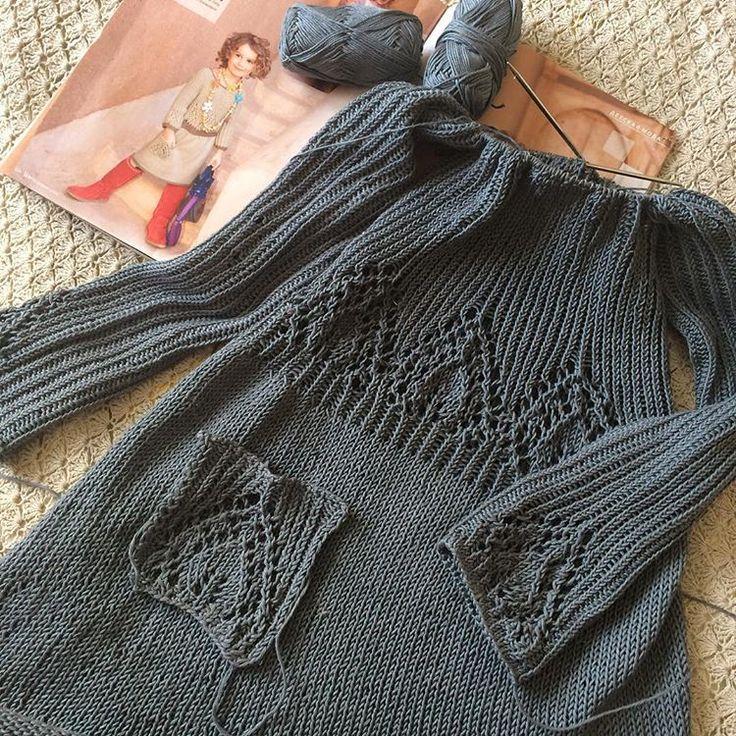 Хоть для школьных платьев почти что не сезон, но так получилось...🙄😝😝Заказ, ничего не поделаешь, буду стараться вязать чуть-чуть на вырост👗👗#вязаниеспицами #вязаниедлядетей #вязаноеплатье #knitlove #cotton
