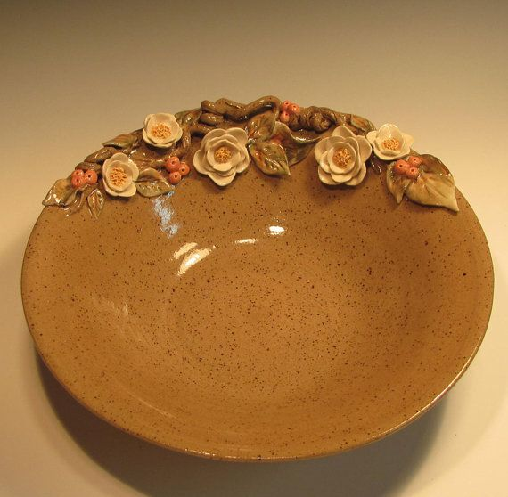 Pottery Bowl Flowers on Speckled Bowl