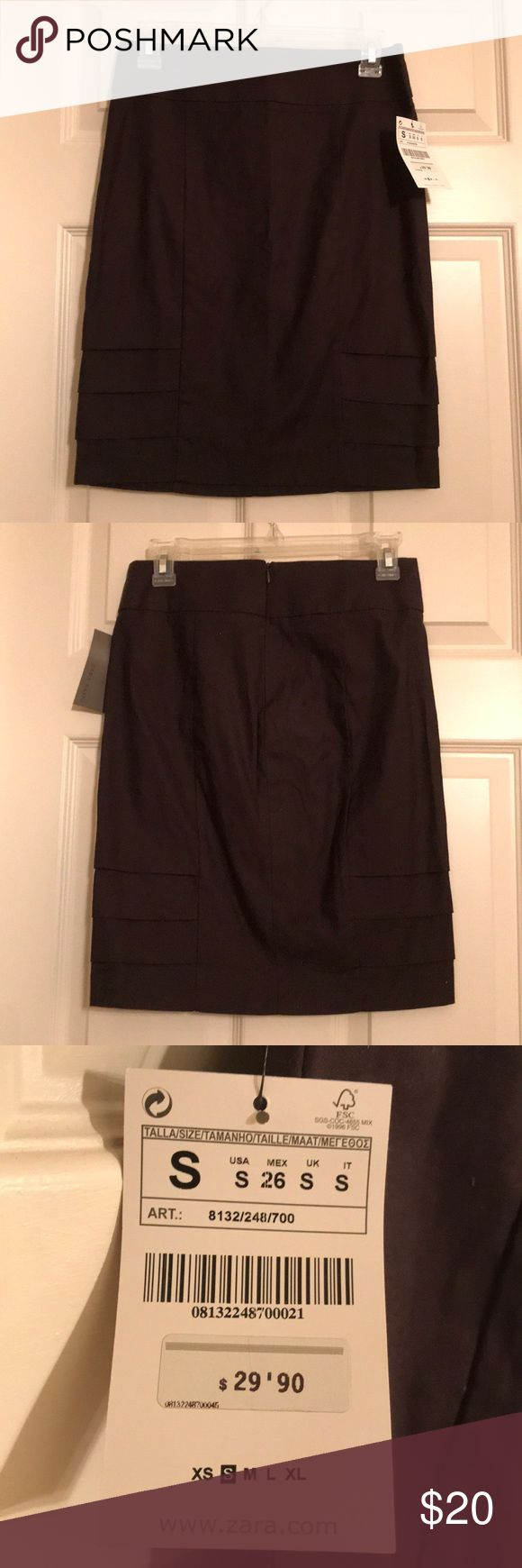 Brown pencil skirt Zara Basics brown pencil skirt never been worn tags on zipper in the back! Zara Skirts Pencil