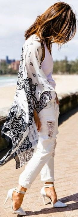 Boho Print Poncho with Ripped Denim and Heels | St...