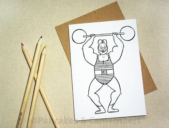 Coloring card - Hercule by Pancakes & Camembert on Etsy.